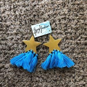 Star earrings with tassels
